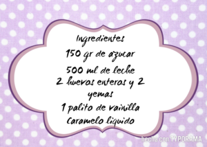 ingredientes flan de vainilla multidelices